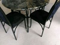 round black wooden table with four chairs dining set Orlando, 32825