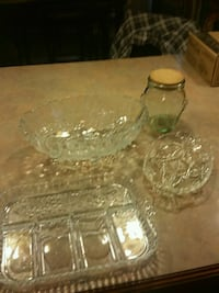 Glass serving platters and glass container Lowell, 46356