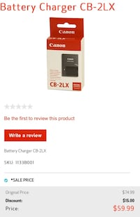 Canon battery charger Surrey, V3T 5K1