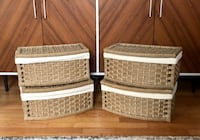 Wicker Woven Storage Baskets with Attached Lid & Liners, Set of 4 University Park, 20782
