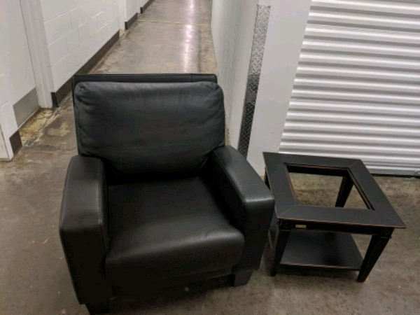 Used 2 Leather Chairs And Side Table For Sale In Mint Hill