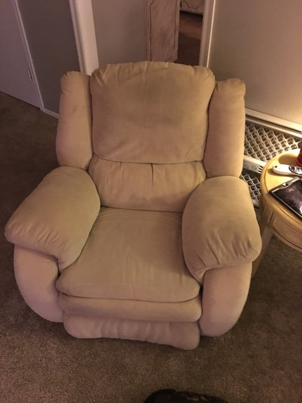 brown fabric recliner sofa chair