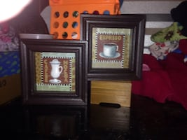 Two brown wooden photo frames