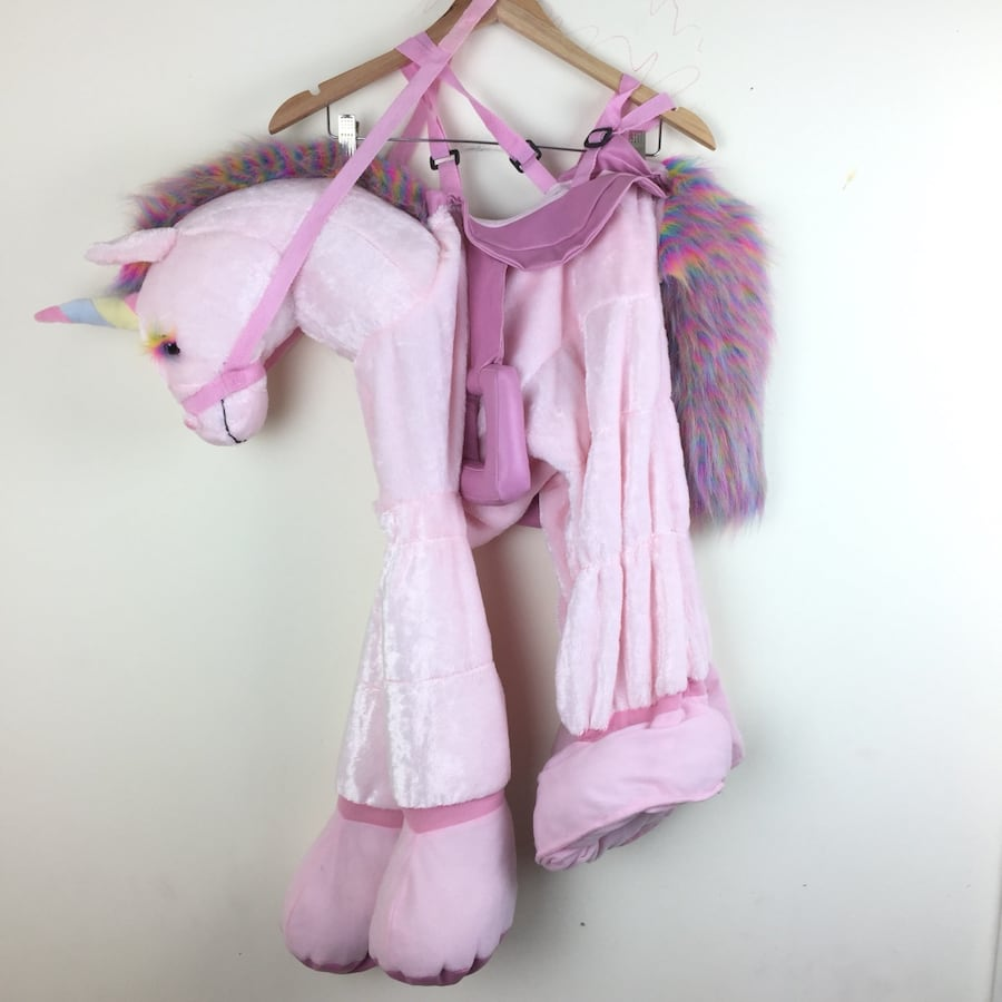 2-4 Years Pink Ride On Unicorn Rainbow Mane