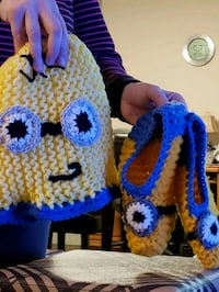 Minion knitted new hat and slippers gently used