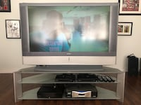 Sony 50 inch LCD Projection TV with matching Sony stand and 2 Arris cable boxes 1 PVR Box 4 Remotes and 1 Monster Power Surge Box  Burnaby, V5J 2A7
