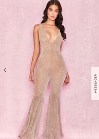 House of cb CHAMPAGNE LUREX KICKFLARE JUMPSUIT Toronto, M6A 2W1