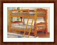 Wooden twin bunkbed frame 2 Mattress free delivery Crofton