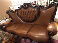 Antique Victorian Leather Couch set , 10312