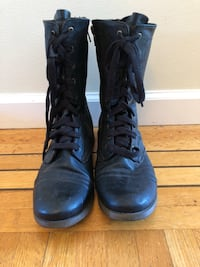 Pair of black vegan leather boots Vancouver, V5Z 3M9