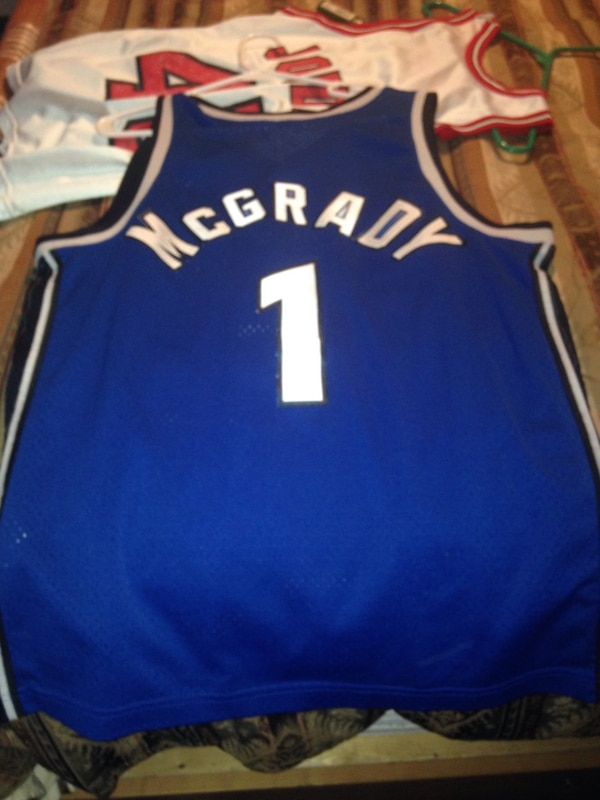 huge selection of 9f0e9 d23b4 blue and white tracy mcgrady basketball jersey