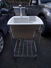 white sink with gray metal frame Langley, V3A