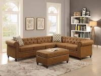 New Spacious Sectional. Breathable Leatherette. Camel or Dark Coffee. Free Delivery ! Culver City