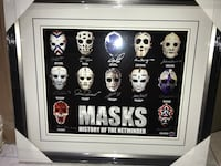 Framed Masks of history signed by 12 legendary goalies Brampton, L6W 2G2
