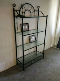 black metal-framed with glass 4-layer shelf
