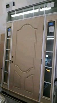 Fiberglass front door with top and side transoms Raleigh, 27614