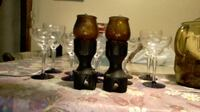 gothic Medieval style wood glass candle holders 2 for $10 WARREN