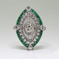 Emerald and 925 Sterling Silver Ring 23 mi
