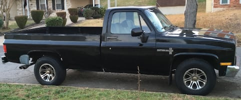 Classic 1986 Black Chevy C10 - Long Bed
