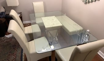 Glass and Marble dining table