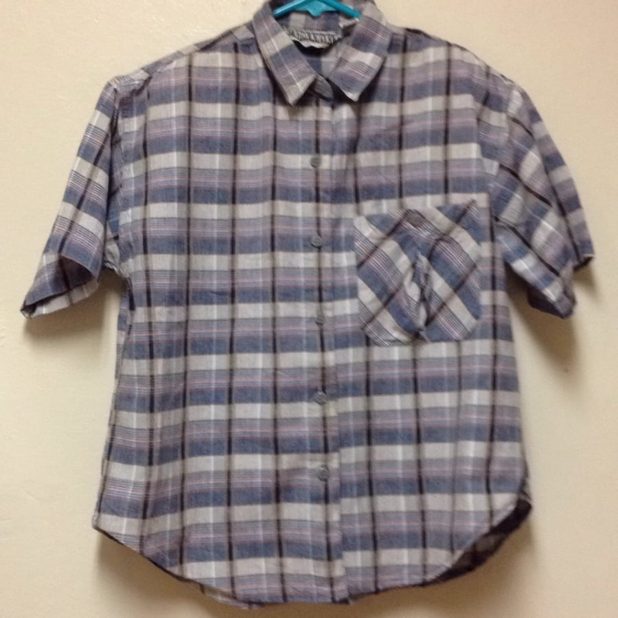 Gray, blue, and white plaid button-up shirt