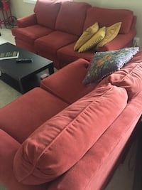 Red fabric sofa, loveseat and chair  Burlington, L7P 4X8