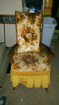 white and brown floral padded armchair Plymouth, 18651