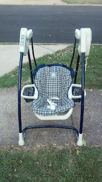 baby's blue and white portable swing