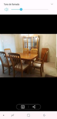rectangular brown wooden table with six chairs dining set Laurel, 20723