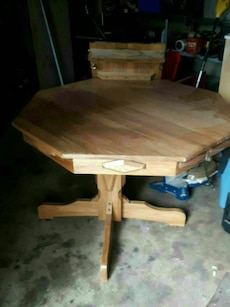 brown wooden octagonal table