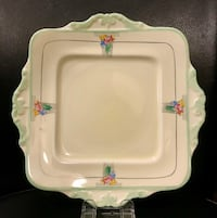 1933' Paragon hand paint bone china cake plate with handles