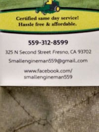 Lawn equipment & all other small engine repair Fresno