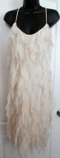 LAWRENCE STEELE SLEEVELESS BEIGE FEATHERED DRESS-8-38 Fort Mill