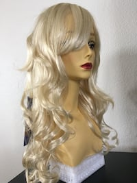 Synthetic long 20 inch curly wavy wig classic cup adjustable straps