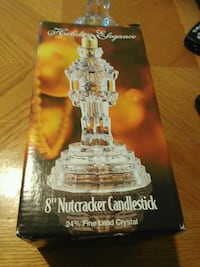 "Holiday Elegance 8"" Nutcracker crystal candlestick"