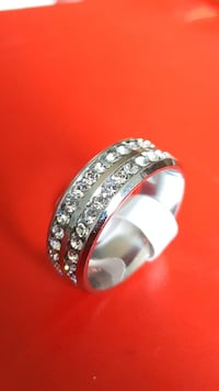 Two Line Crystal Silver Ring Mississauga