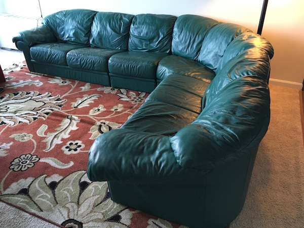 4-section Green couch. Willing to negotiate
