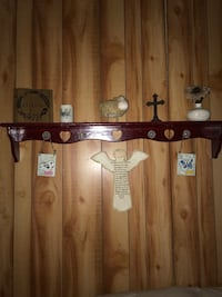 Wooden shelf /wine color 48 inches long with glass knobs Eustis, 32736