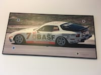 white number 7 stock car picture with black frame