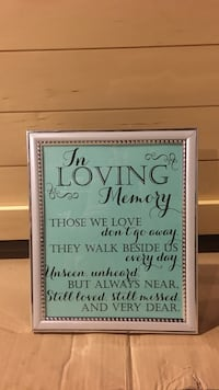 Memorial table sign - silver frame Williamsport, 21795