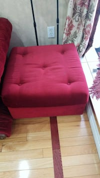 red fabric sofa chair with ottoman Guelph, N1K