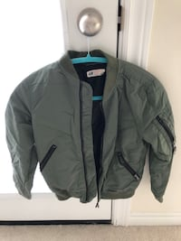 Boys H&M Green Bomber Jacket Size 8-9