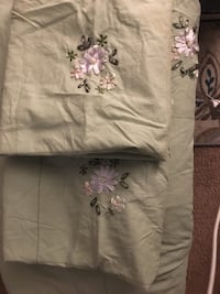 White and purple floral textile null