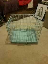 blue metal folding dog crate Hyattsville, 20785