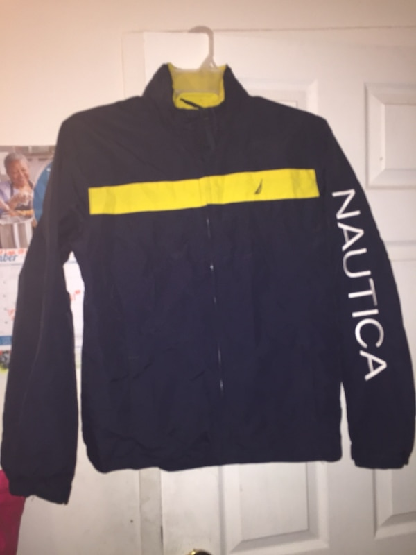 black and yellow zip-up jacket