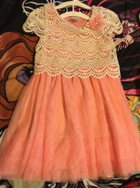 Peach and cream girls dress