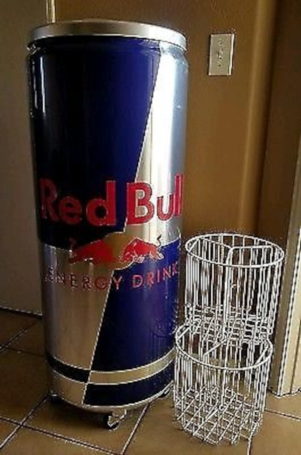 4 foot tall red bull can refrigerator