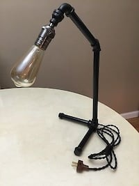 Desk Table Lamp Industrial Decor Black Pipe Steampunk Vintage With Edison Bulb New York, 10312