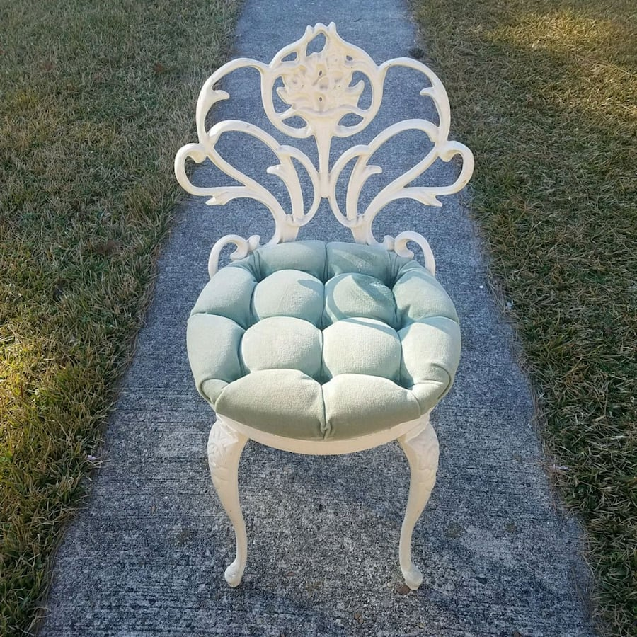 Beautiful wrought iron vanity chair