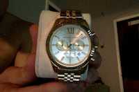 round silver Michael Kors chronograph watch with link bracelet Mount Kisco